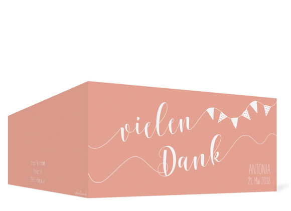 Danksagungskarte zur Kommunion (Klappkarte im Format DIN Lang), Motiv: Frühlingsfrisch, Aussenansicht, Farbvariante: Apricot
