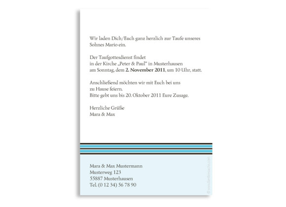 Rückseite, Postkarte zur Taufe, Motiv Daphne/David, Farbversion: blau
