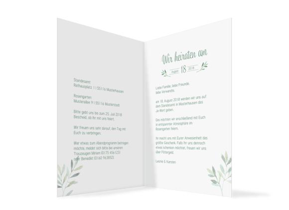 Hochzeitseinladungen (Klappkarte C6), Motiv: Blätterkranz, Innenansicht, Farbvariante: gruen