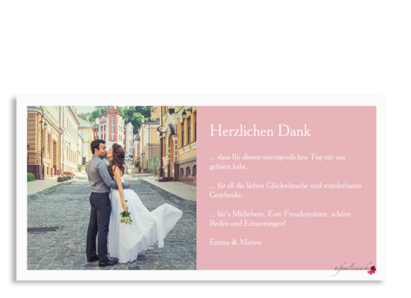 Hochzeitsdanksagung Nizza, Postkarte DL mit Foto, Rückseite, Farbversion: puder