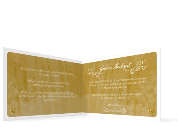 Einladung zur goldenen Hochzeit Turteltauben, Innenansicht