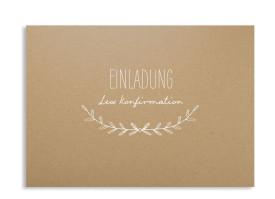 """Einladung zur Konfirmation """"Zweig Natural"""" weiss"""