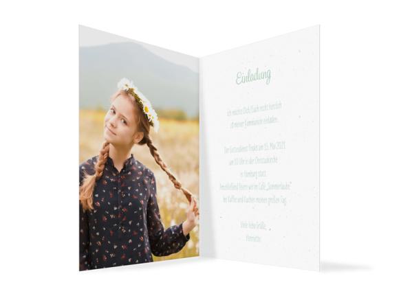 Kommunionseinladung (Klappkarte Hochformat mit Foto), Motiv: Henriette/Henry, Innenansicht, Farbvariante: gruen
