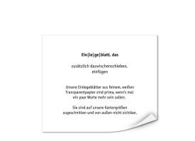 Transparente Einlegeblätter 128 x 108 mm zum Bedrucken Transparent