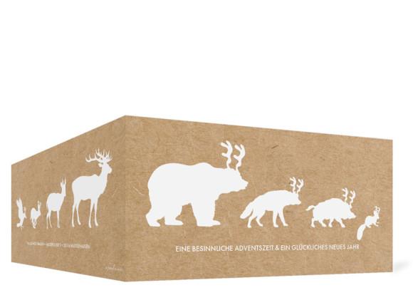 Weihnachtskarte Waldtiere, Außenansicht der Farbversion: weiß