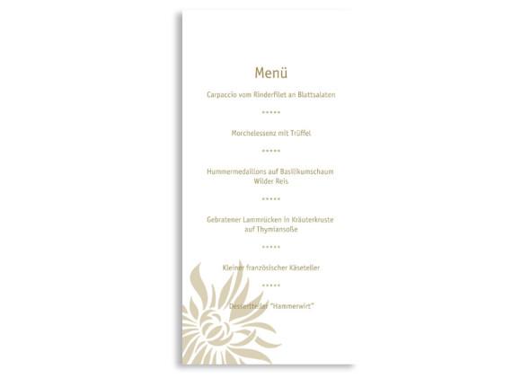 Rückseite, Menükarte zur Hochzeit (DIN Lang-Karte, zweiseitig), Motiv Florenz, Farbversion: beige