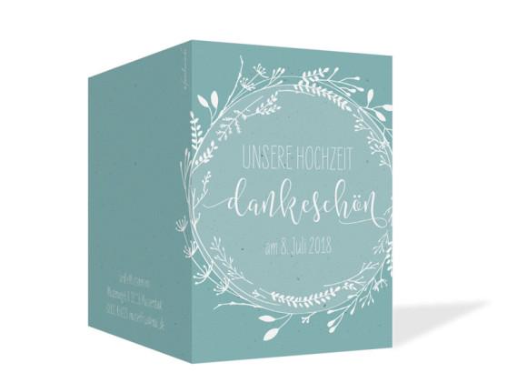 Hochzeitsdanksagung  (Klappkarte), Motiv: Blumenkranz, Aussenansicht, Farbvariante: Türkis