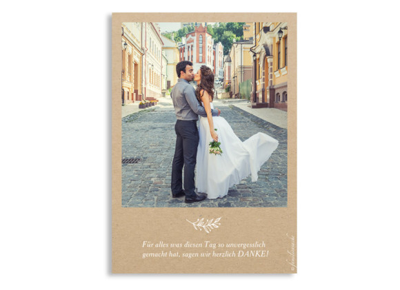 Danksagungskarten zur Hochzeit Nature, Rückseite in weiß