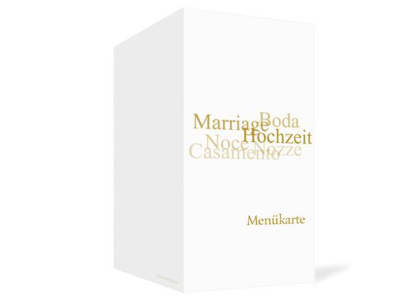 Außenansicht, Menükarte zur Hochzeit (Klappkarte), Motiv Casablanca, Farbversion: beige