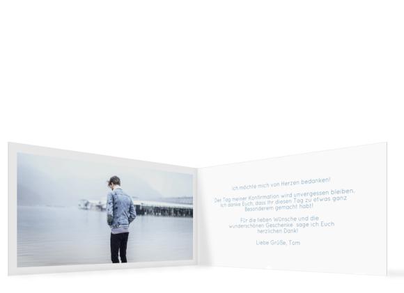 Konfirmationsdanksagung (Klappkarte mit fünf Fotos), Motiv: Ziel, Innenansicht, Farbvariante: blautuerkis