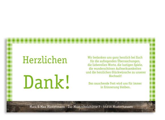 Rückseite, Danksagungs-Postkarte zur Hochzeit, Motiv Alpenglühen, Farbversion: grün