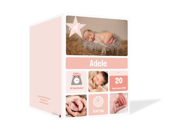 Babykarte (Klappkarte, hochkant), Motiv: Adele/Augustin,  Aussenansicht, Farbversion: apricot