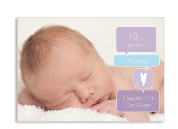 Karte zur Geburt Mathilda/Matteo (Postkarte, ein Foto)