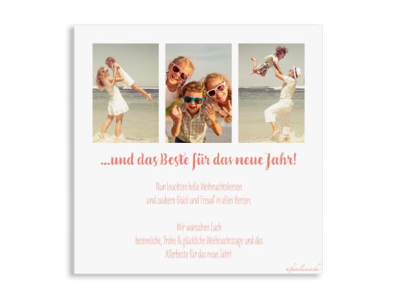 Weihnachtsgrüße, Motiv: Pure Deer, quadratische Postkarte mit drei Fotos, Rückseite, Farbvariante: apricot