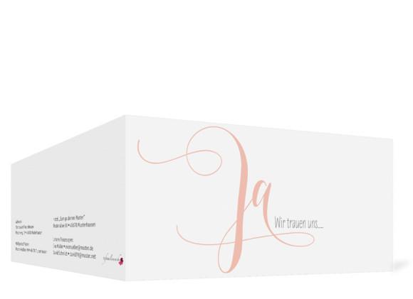 Hochzeitseinladung Cannes pure, Klappkarte DIN Lang, Außenansicht, Farbversion: apricot