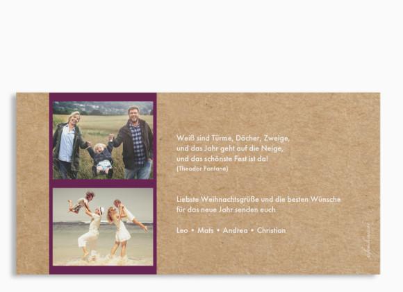 Weihnachtskarte Waldtiere, Rückseite der Farbversion: brombeer