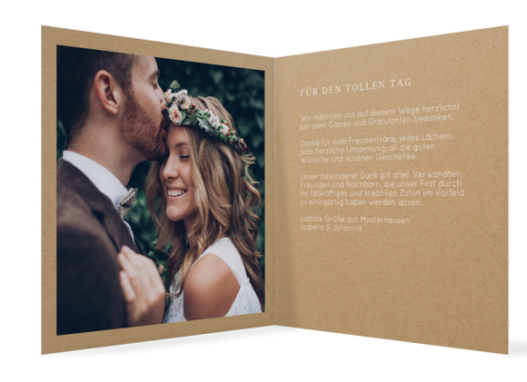 Danksagungskarten Hochzeit (Packpapier, ein Foto), Motiv: Malaga, Innenansicht, Farbvariante: weiss