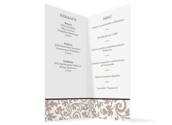 Innenansicht, Menükarte zur Hochzeit (Klappkarte), Motiv Rokko Weiß, Farbversion: beige