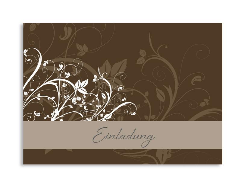 Einladungskarte Blümchen (Postkarte A6) Braun