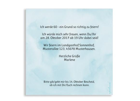 Einladungskarten 60. Geburtstag, Motiv: Dots 'n Stripes, (quadratische Postkarte), Rückseite, Farbvariante:  eisblau