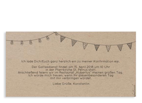 Einladung zur Konfirmation (Postkarte DL quer), Motiv: Wimpelchen, Rückseite, Farbvariante: schwarz
