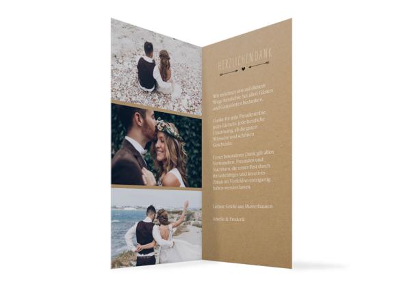 Hochzeitsdanksagungen (Klappkarte DL), Motiv: Rotterdam natural, Innenansicht, Farbvariante: schwarz