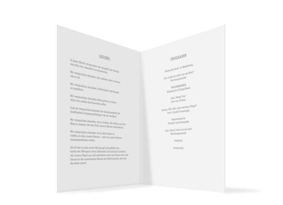 Kirchenheft (Klappkarte A5), Motiv: Gent Pure, Innenansicht, Farbvariante: grau