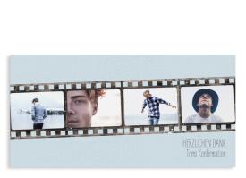"""Danksagung Konfirmation """"Weg"""" (Postkarte DL mit Fotos) hellblau"""
