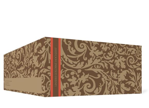 Außenansicht, Einladungs-Klappkarte zur Goldenen Hochzeit (Format DIN Lang), Motiv Rokko, Farbversion: beige/braun