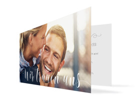 Hochzeitseinladung Cannes Pure (Klappkarte DL) Taupe