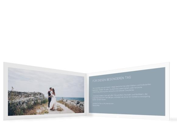 Danksagung Hochzeit (Klappkarte DIN Lang, ein Foto), Motiv: DS Salzburg, Innenansicht, Farbvariante: blau