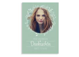 """Konfirmationsdanksagung """"Henriette/Henry"""" (Postkarte A6 hoch) gruen"""