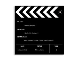 Save-The-Date-Karte Hollywood Schwarz