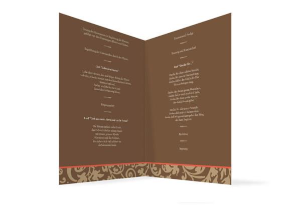 Innenansicht, Klappkarte zur Hochzeit (Kirchenheft), Motiv Rokko, Farbversion: beige-braun