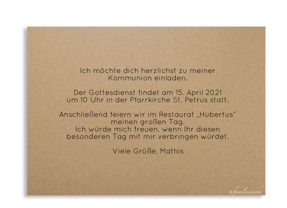 Kommunionseinladungen (Postkarte ohne Fotos), Motiv: Farbenfroh, Rückseite, Farbvariante: schwarz
