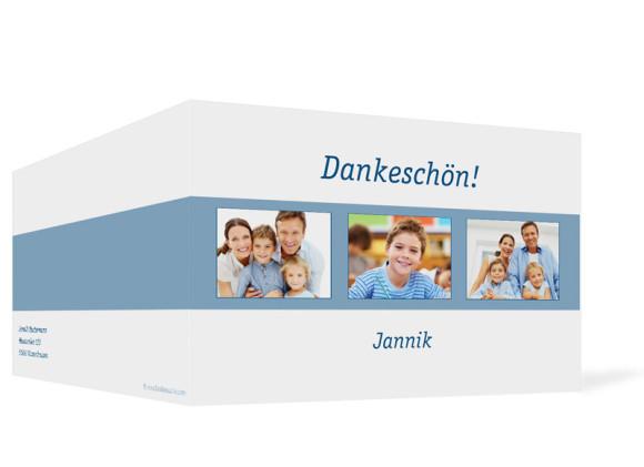 Außenansicht, Klappkarte zur Kommunion, Motiv Jette/Jannik, Farbversion: blau