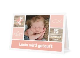 Einladung zur Taufe Lucia/Luca Apricot