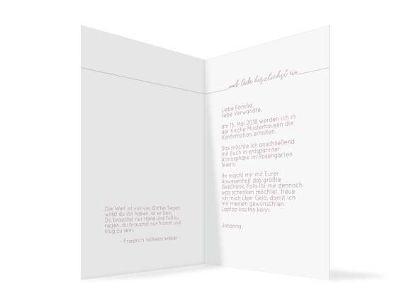 Einladung zur Konfirmation (Klappkarte), Motiv: Warschau, Innenansicht, Farbvariante: Altrosa