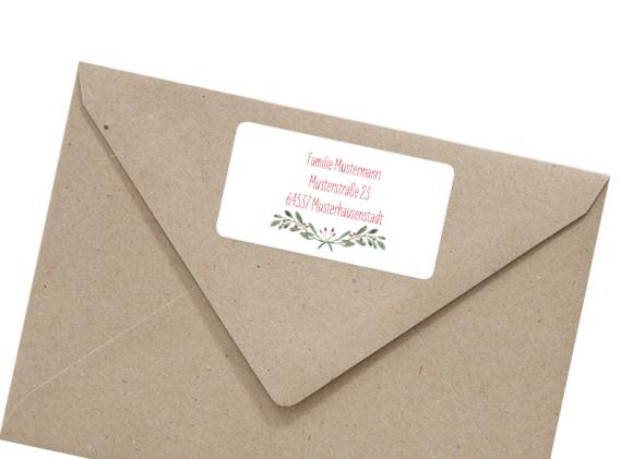 Adressetikett rechteckig , Motiv: Wintereinzug, mit Briefhülle, Farbvariante: beerenrot