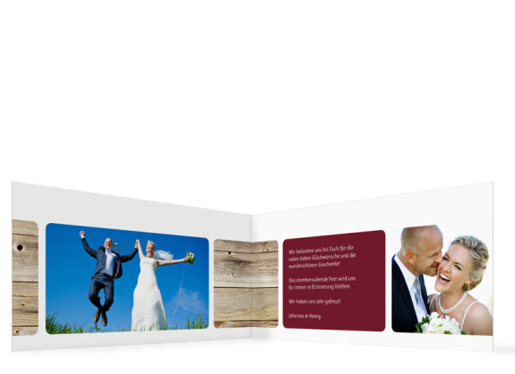 Innenansicht, Dankeskarte Zürich zur Hochzeit, Farbversion: bordeaux