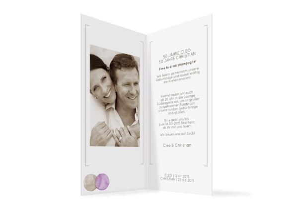 Einladungskarte Tahiti, Innenansicht der Farbversion: beige/lila