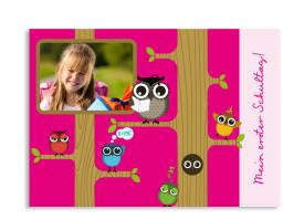 Einschulungskarte Baumschule (Postkarte) Pink