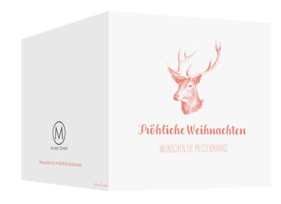 Firmen-Weihnachtskarte Pure Deer (Klappkarte, quad.), Außenansicht in der Farbvariante: apricot