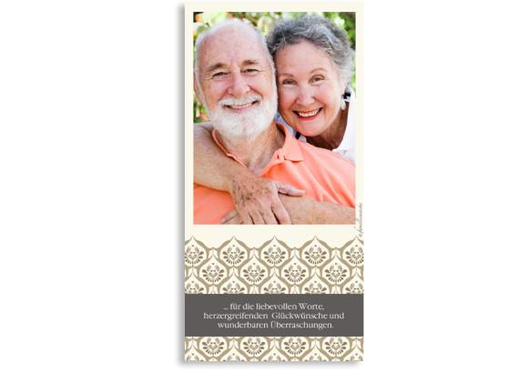 Danksagungskarten Goldene Hochzeit Valencia, Rückseite der Farbversion: beige