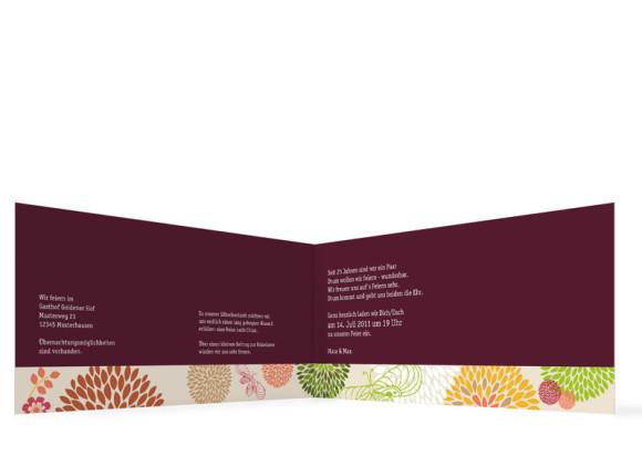 Innenansicht, Einladungskarte zur Silberhochzeit (Format DIN Lang, Klappkarte), Motiv Lissabon, Farbversion: bordeaux