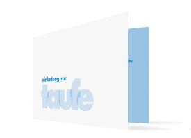 Taufkarte Liv/Leo (Klappkarte mit Foto) Hellblau