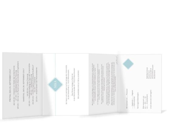 Hochzeitseinladungskarte Brüssel, Innenseite in Eisblau