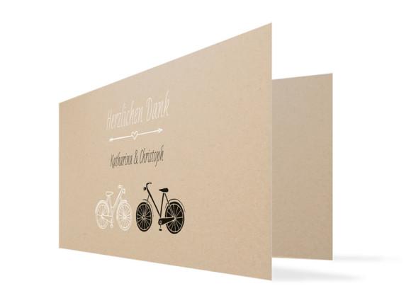 Danksagungskarte zur Hochzeit Fahrrad
