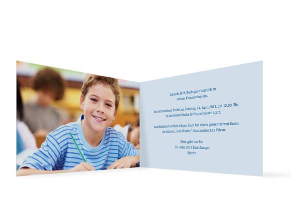 Innenansicht, Klappkarte zur Kommunion, Motiv Jette/Jannik, Farbversion: blau