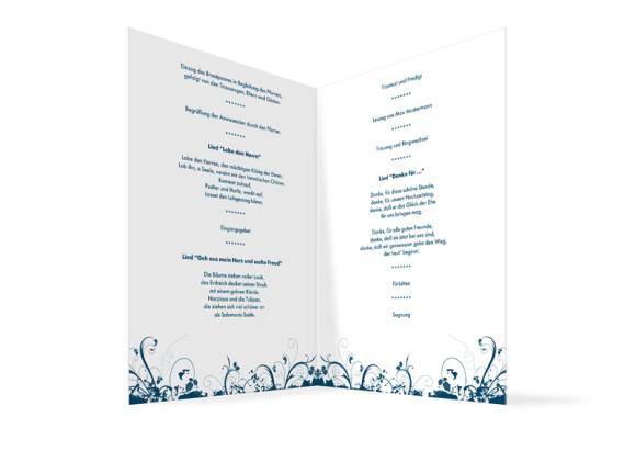 Innenansicht, Klappkarte zur Hochzeit (Kirchenheft), Motiv Miami, Farbversion: blau